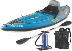 Sevylor Quikpak K1 1-Person Inflatable Kayak Raft Fishing Su