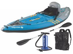 🚣Sevylor Quikpak K1 1-Person Kayak Backrest Pump Paddle C