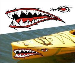 SHARK TEETH MOUTH DECAL STICKERS KAYAK CANOE JET SKI HOBIE D