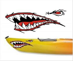 SHARK TEETH MOUTH DECAL STICKERS KAYAK CANOE JET SKI HOBIE D