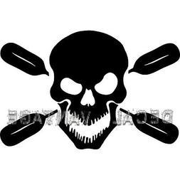Skull Oars Style B Vinyl Sticker Decal Kayak Canoe Paddles -