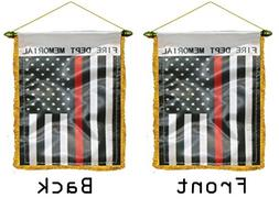 ALBATROS Thin Red Line USA Double Sided Mini Flag 4 inch x 6