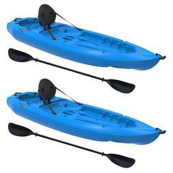 Two 8' Adult Kayaks Paddles and Backrest Blue 2 pack Lifetim