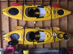 Two Pelican Catalyst 100 10-ft Kayaks w/ Paddles, Roof Rack,
