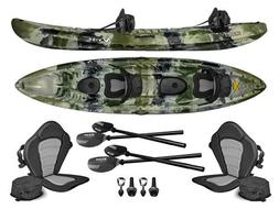 Vibe Skipjack 120T 12' Tandem 3 Person Fishing Kayak+Paddles