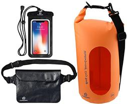 Freegrace Waterproof Dry Bags Set of 3 Dry Bag with 2 Zip Lo