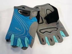 Women's NRS BLUE/GRAY Axiom Gloves 3/4 Finger Kayak Paddling