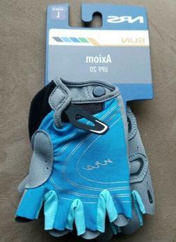 Women's L NRS BLUE/GRAY Axiom Gloves 3/4 Finger Kayak Paddli