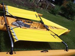 yellow Hobie  Adventure  Tandem  Kayak  Trampoline & splash